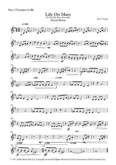 Life On Mars For Flexible Brass Ensemble 6 Parts Or Quintet  music sheet