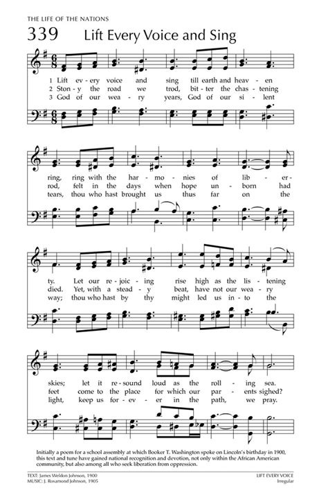 Lift Every Voice And Sing  music sheet