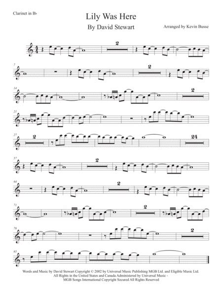 Lily Was Here Easy Key Of C Trumpet  music sheet