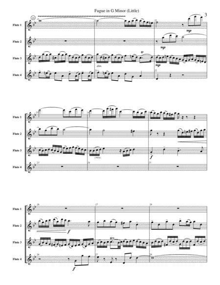 Little Fugue In G Minor Bwv 578 For Flute Quartet Or Choir  music sheet