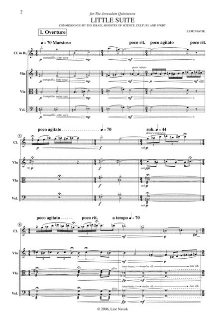 Little Suite For Clarinet And String Trio Score Parts  music sheet