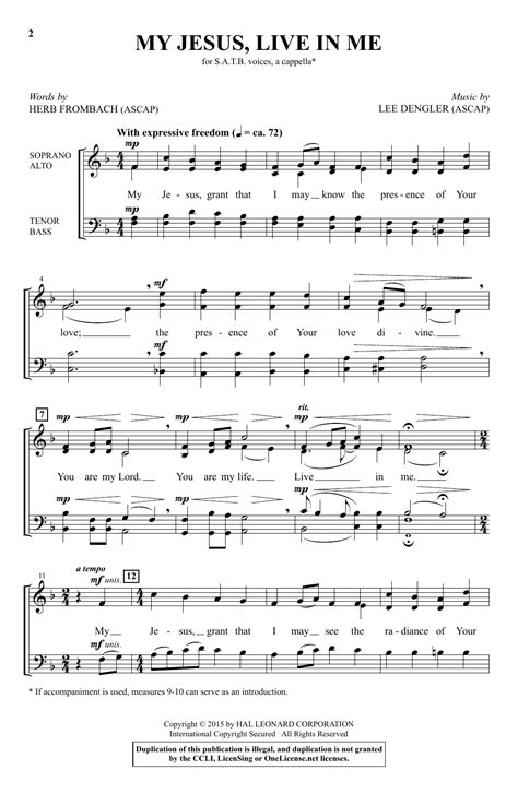 Live In The Present For Satb Chorus And Piano  music sheet
