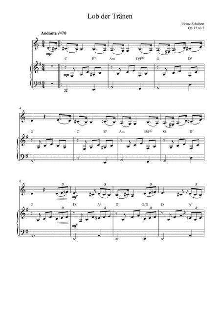 Lob Der Trnen Op 13 No 2 Bassoon Solo And Piano Accompaniment  music sheet