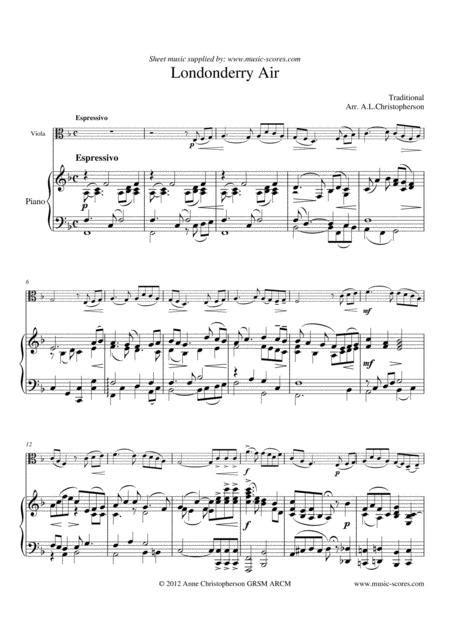 Londonderry Air Viola And Piano  music sheet