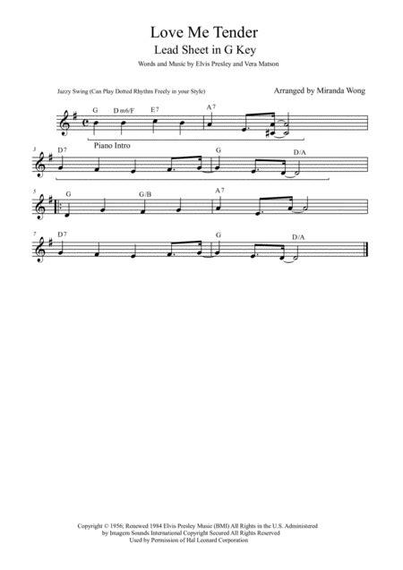 Love Me Tender Lead Sheet In 3 Keys With Chords  music sheet