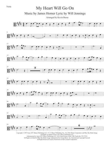 Love Theme From Titanic Original Key Viola  music sheet