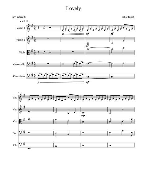 Lovely Billie Eilish For String Quartet  music sheet