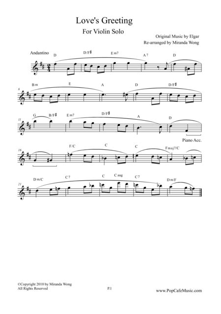 Loves Greeting Salut D Amour In D Key Lovely Version For Violin Solo  music sheet