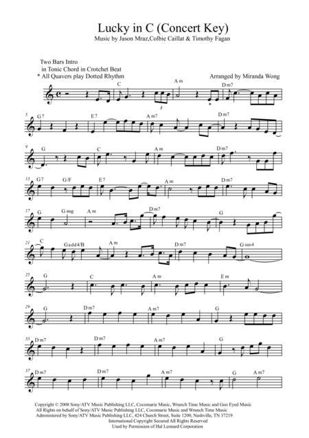 Lucky Lead Sheet In Concert C Key With Chords  music sheet