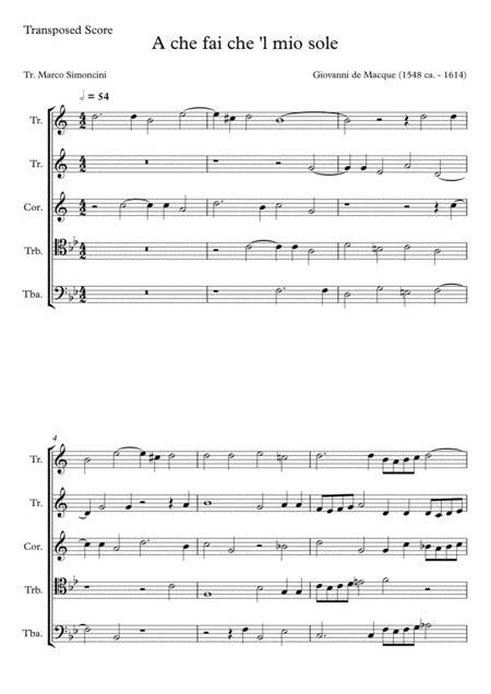 Macque Giovanni De A Che Fai Che L Mio Core Brass Quintet  music sheet