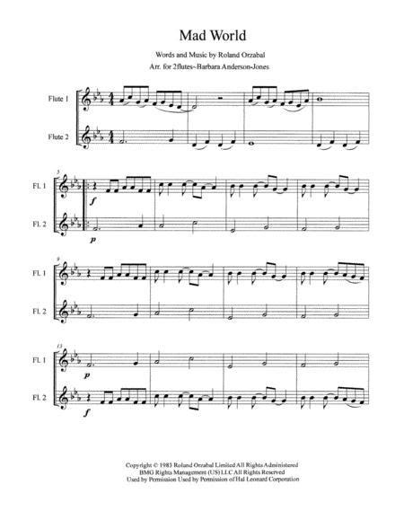 Mad World Arranged For Flute Duet  music sheet