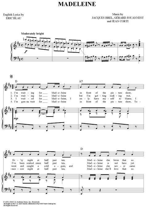 Madeleines  music sheet
