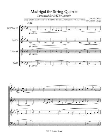 Madrigal For String Quartet Arranged For Satb Chorus  music sheet
