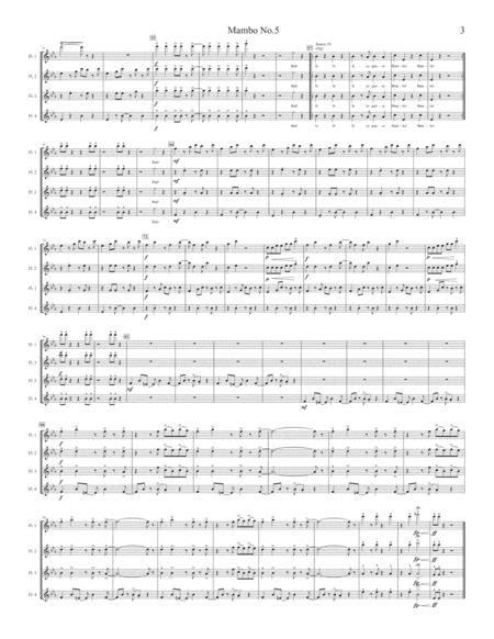 Mambo No 5 For Flute Quartet  music sheet