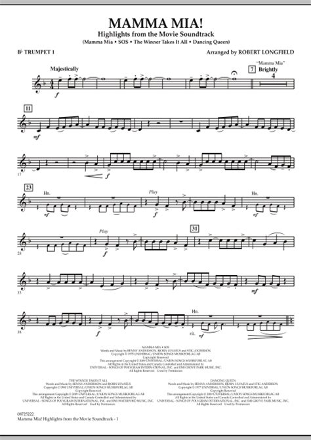 Mamma Mia Solo Bb Trumpet Piano  music sheet