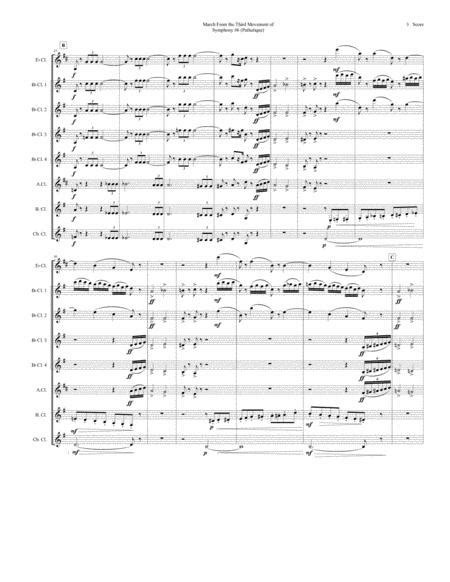 March From Symphony 6 Pathetique For Clarinet Choir  music sheet