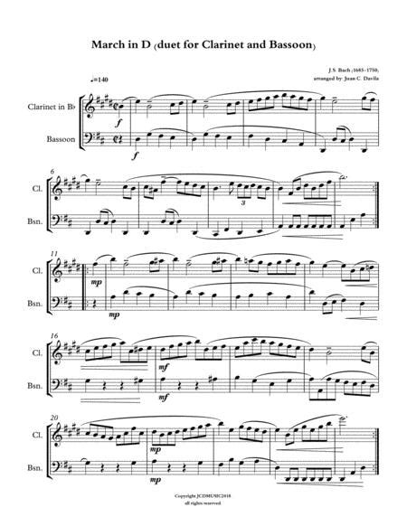 March In D Duet For Clarinet And Bassoon By Js Bach  music sheet