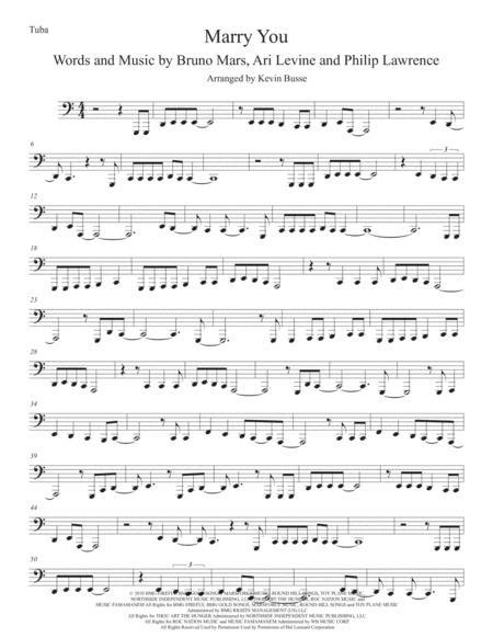 Marry You Easy Key Of C Clarinet  music sheet