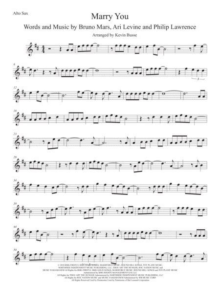 marry you original key alto sax music sheet