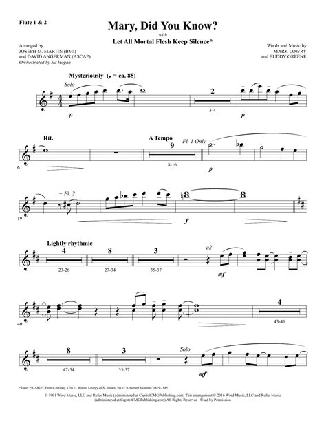 Mary Did You Know For Woodwind Quartet  music sheet