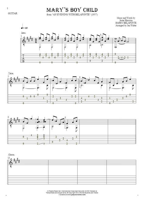 Marys Boy Child Solo Guitar Score  music sheet