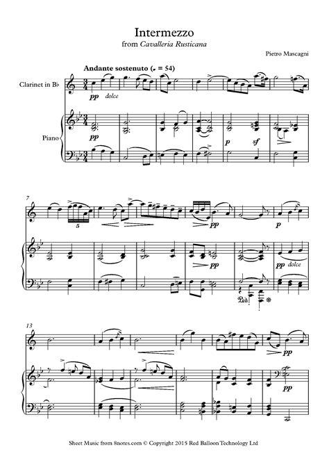 Mascagni Intermezzo For Clarinet In Bb And Piano  music sheet