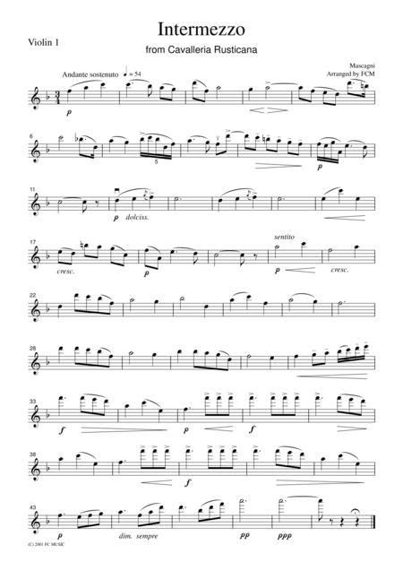 Mascagni Intermezzo From Cavalleria Rusticana For String Quartet Cm301  music sheet