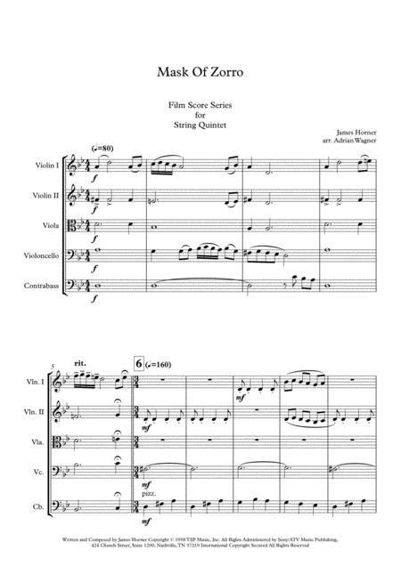 Mask Of Zorro James Horner String Quintet Arr Adrian Wagner  music sheet