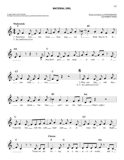 Material Girl  music sheet