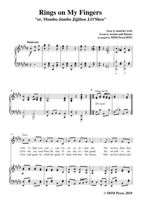 Maurice Scott Rings On My Fingers In G Major For Voice And Piano  music sheet