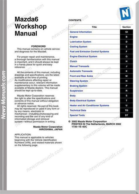 free download ebooks Mazda 6 Diesel Workshop Manual.pdf