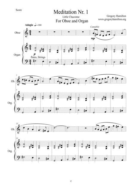Meditation Nr 1 For Oboe And Organ  music sheet