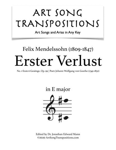 Mendelssohn Erster Verlust Op 99 No 1 Transposed To F Major  music sheet