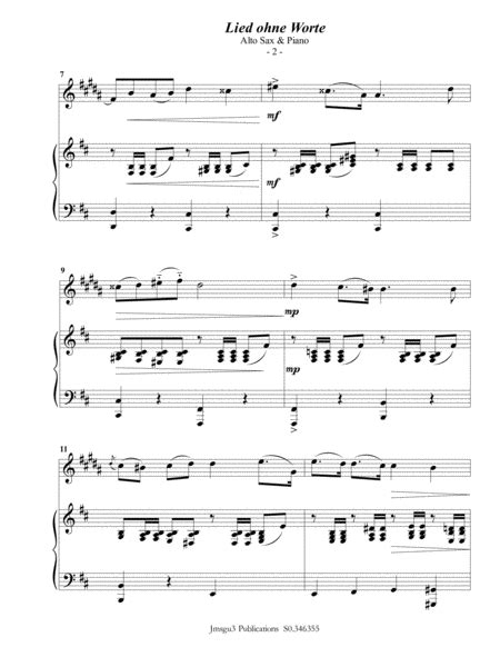 Mendelssohn Song Without Words Op 109 For Alto Sax Piano  music sheet