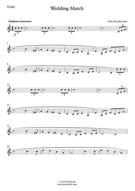 Mendelssohn Wedding March For Violin And Piano  music sheet