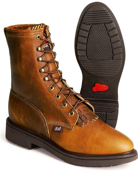 mens justin lace up work boots eBay