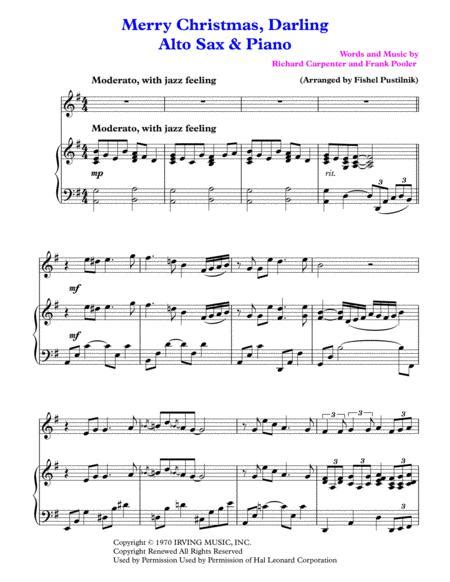 Merry Christmas Darling For Alto Sax And Piano  music sheet