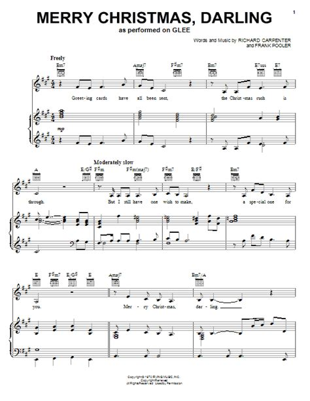 Merry Christmas Darling Violin  music sheet