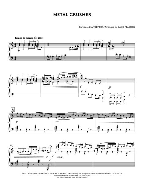 Metal Crusher Undertale Piano Collections 2  music sheet