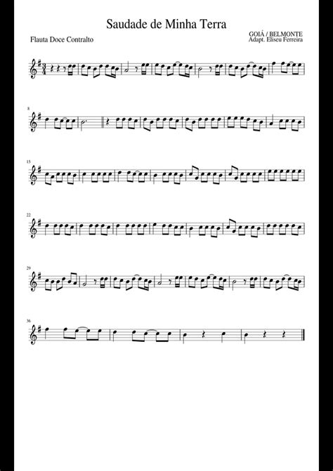 minha terra music sheet
