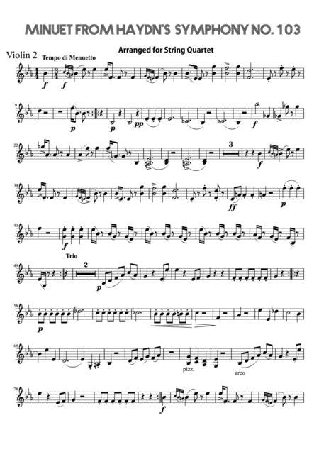 Minuet From Haydns Symphony No 103 Cello  music sheet