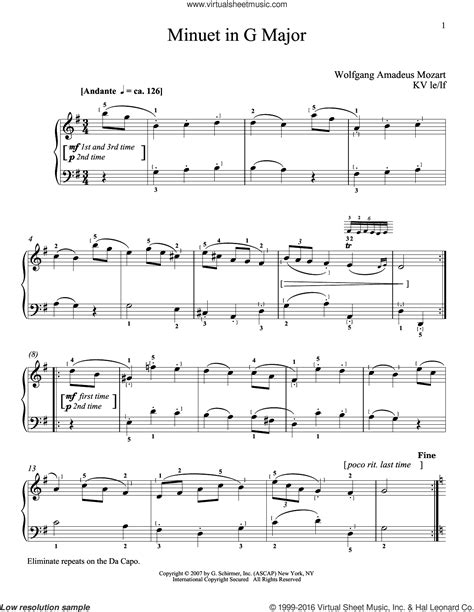 Minuet In F Major Wolfgang Amadeus Mozart For Violin Piano  music sheet