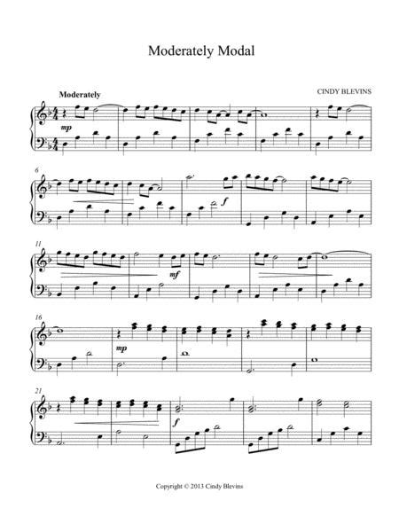 Moderately Modal An Original Solo For Lever Or Pedal Harp From My Book Mood Swings  music sheet
