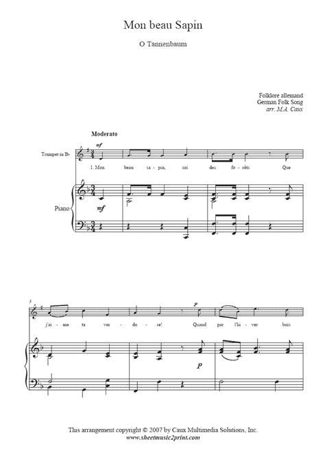 Mon Beau Sapin For Trumpet  music sheet