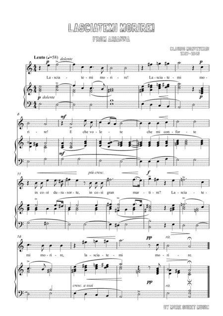 Monteverdi Lasciatemi Morire In A Minor For Voice And Piano  music sheet