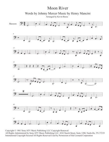 Moon River Easy Key Of C Bassoon  music sheet