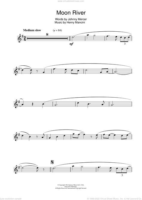 Moon River Flute Sheet Music Tab  music sheet
