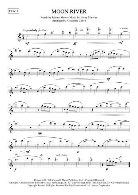 Moon River For Flute Quartet  music sheet