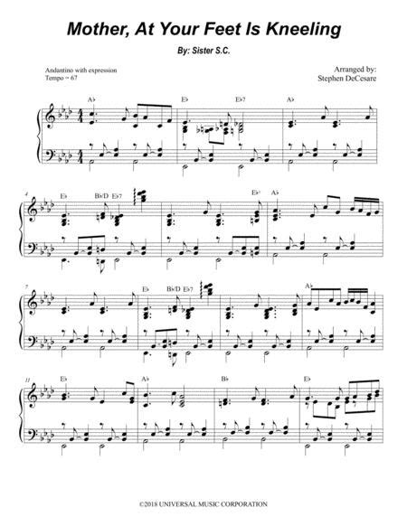 Mother At Your Feet Is Kneeling Alto Saxophone And Piano  music sheet