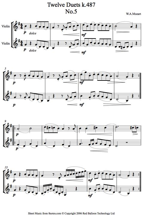 Mozart 12 Duets K 487 For Cello Duo  music sheet